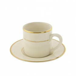 Ivory Demitasse Cup and Saucer with Gold Band