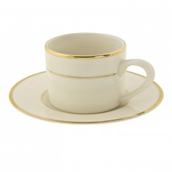 Ivory Coffee Cup and Saucer with Gold Band