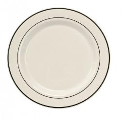 "White Chop Plate 12"" with Silver Band"