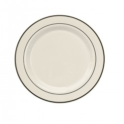 "White Dinner Plate 10 ¼"" with Silver Band"